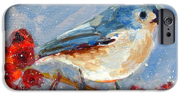 Fruit Tree iPhone Cases - Blue Bird in Winter - Tuft titmouse iPhone Case by Patricia Awapara