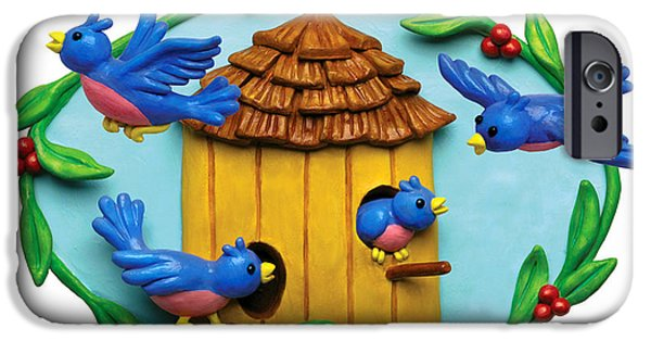 Animal Cards Sculptures iPhone Cases - Blue Birds fly Home iPhone Case by Amy Vangsgard