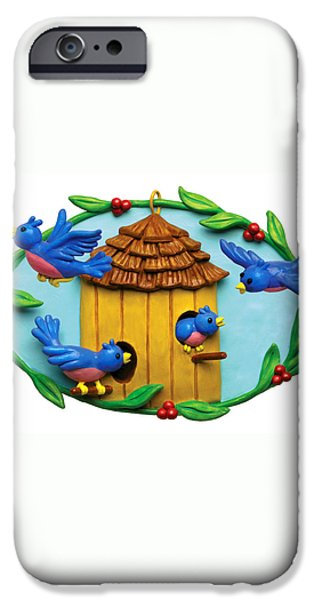 Blue Birds fly Home iPhone Case by Amy Vangsgard