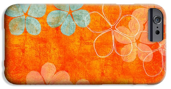 Pantone iPhone Cases - Blue Blossom on Orange iPhone Case by Linda Woods