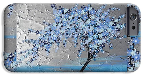 Cherry Blossoms Mixed Media iPhone Cases - Blue blossom tree iPhone Case by Cathy Jacobs