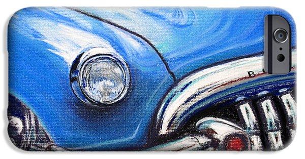 Automotive Pastels iPhone Cases - Blue Blue Buick iPhone Case by Michael Foltz