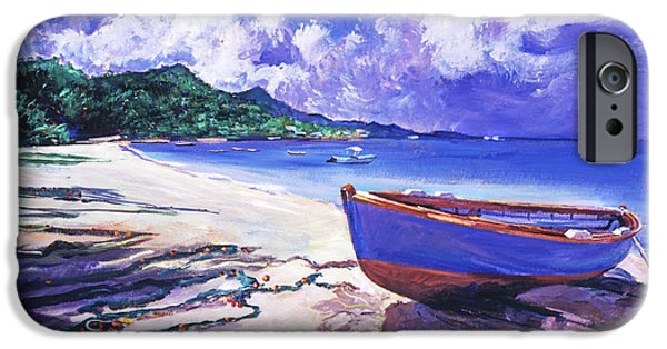Net Paintings iPhone Cases - Blue Boat and Fishnets iPhone Case by David Lloyd Glover