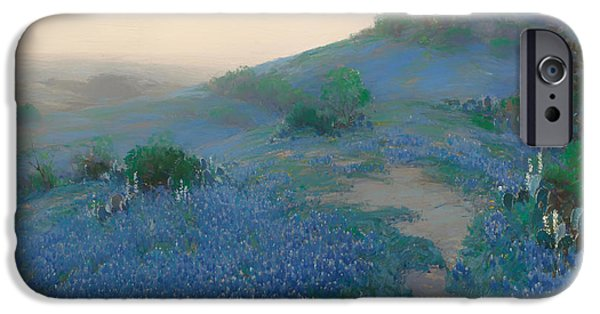 Concept Paintings iPhone Cases - Blue Bonnet Field in San Antonio iPhone Case by Onderdonk