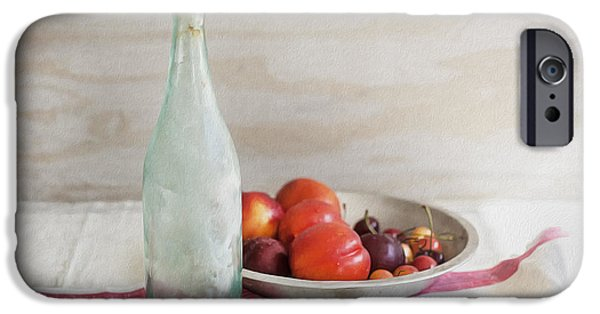 Table Wine iPhone Cases - Blue Bottle and Fresh Fruit iPhone Case by Rich Franco