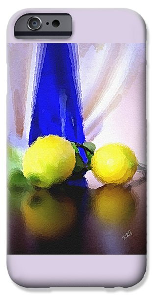 Glass Table Reflection iPhone Cases - Blue Bottle And Lemons iPhone Case by Ben and Raisa Gertsberg