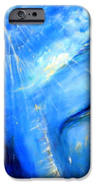 Experience Paintings iPhone Cases - Blue Buddha Sky iPhone Case by Heather Calderon