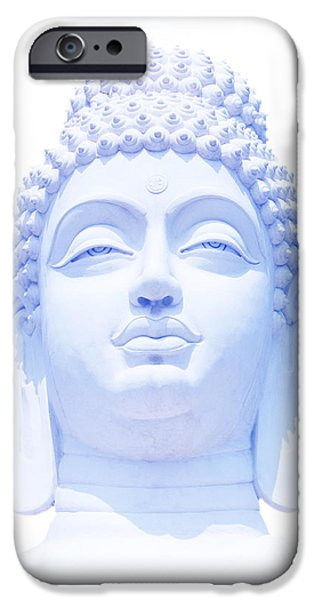 Buddhism iPhone Cases - Blue Buddha iPhone Case by Tim Gainey