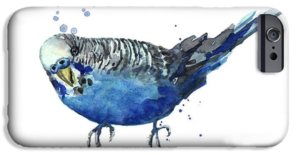 Cute Bird iPhone Cases - Blue Budgerigar iPhone Case by Alison Fennell