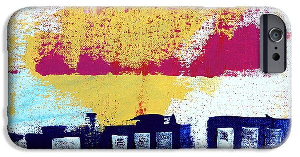 Cities Mixed Media iPhone Cases - Blue Buildings iPhone Case by Linda Woods