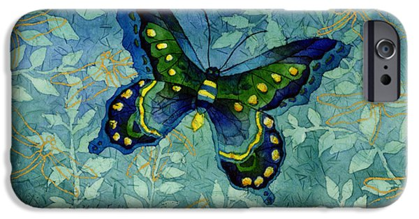Butterfly Garden iPhone Cases - Blue Butterfly iPhone Case by Hailey E Herrera