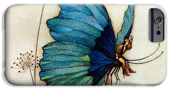 Faries iPhone Cases - Blue Butterfly II iPhone Case by Warwick Goble