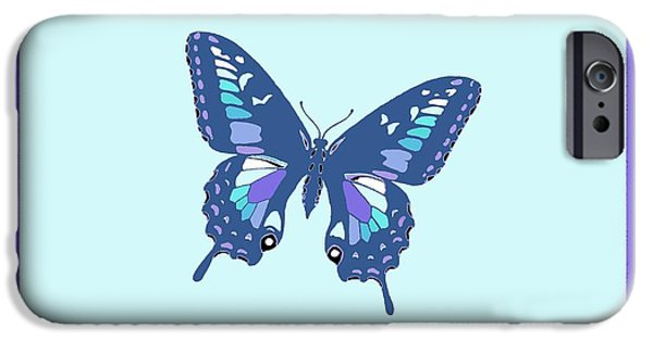 Flies Mixed Media iPhone Cases - Blue Butterfly iPhone Case by L Brown