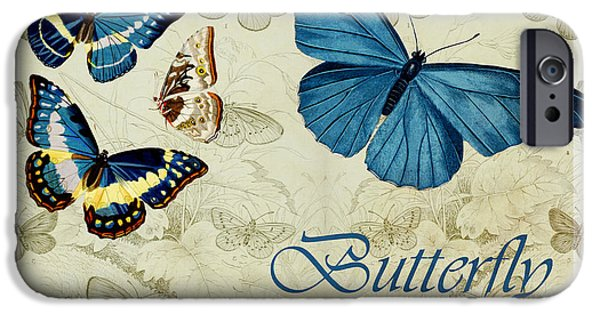 Variant iPhone Cases - Blue Butterfly - s01a iPhone Case by Variance Collections