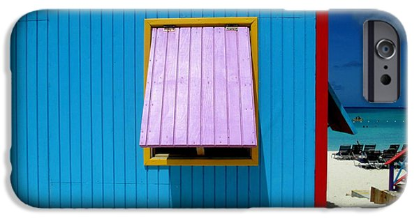 Window Cover iPhone Cases - Blue Cabin iPhone Case by Randall Weidner
