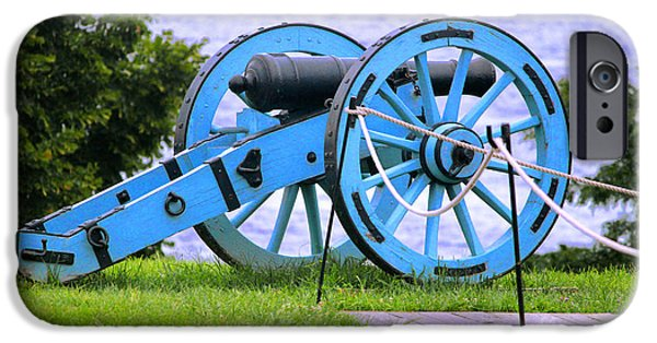 Cannon Pyrography iPhone Cases - Blue Cannon at Fort McHenry iPhone Case by Cynthia Snyder