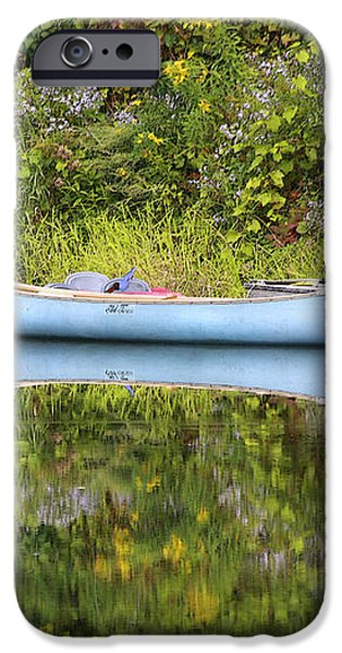 Blue Canoe iPhone Case by Deborah Benoit