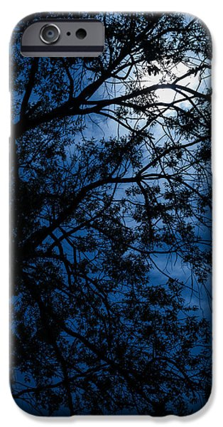Creepy iPhone Cases - Blue Caress of Feel iPhone Case by Mario Morales Rubi