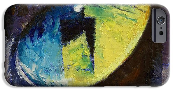 Cat Reflection iPhone Cases - Blue Cat Eye iPhone Case by Michael Creese
