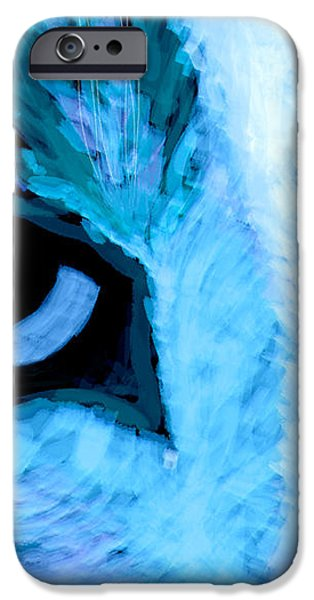 Blue Cat Face iPhone Case by Ann Powell