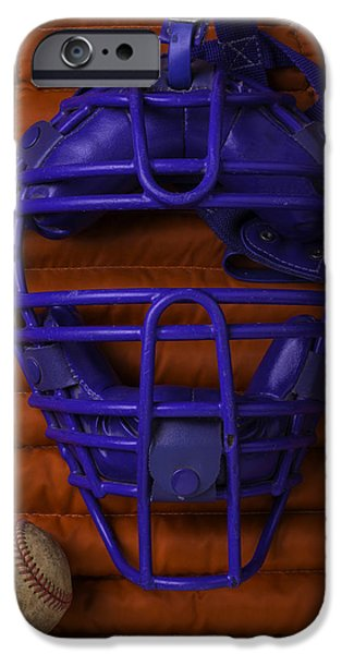 Mitt iPhone Cases - Blue Catchers Mask iPhone Case by Garry Gay