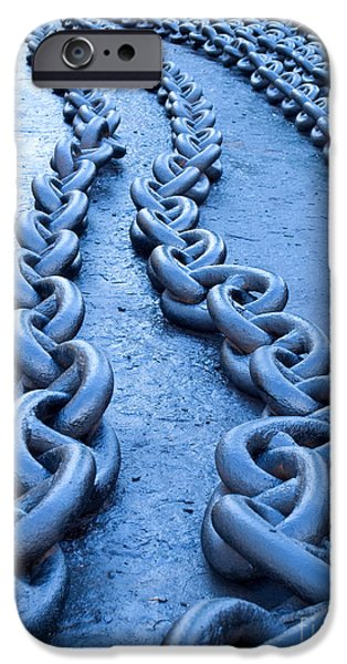 Chain-ring iPhone Cases - Blue chains iPhone Case by Sinisa Botas