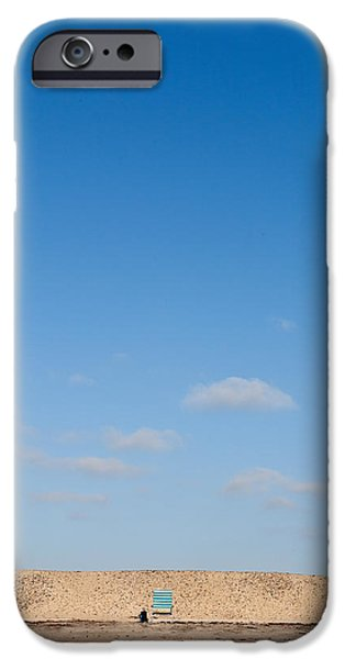 Beach Chair iPhone Cases - Blue Chair Number 1 iPhone Case by Peter Tellone