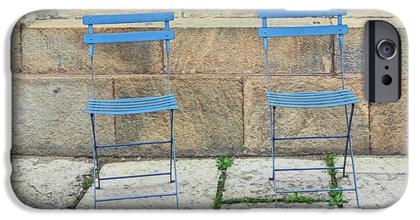 Interior Scene iPhone Cases - Blue chairs 1 Stockholm Sweden iPhone Case by Marianne Campolongo