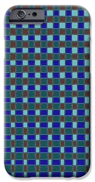 Multimedia iPhone Cases - BLUE CHECK abstract Fine Art Patterns Textures Abstract formations Multi purpose creations suitable  iPhone Case by Navin Joshi