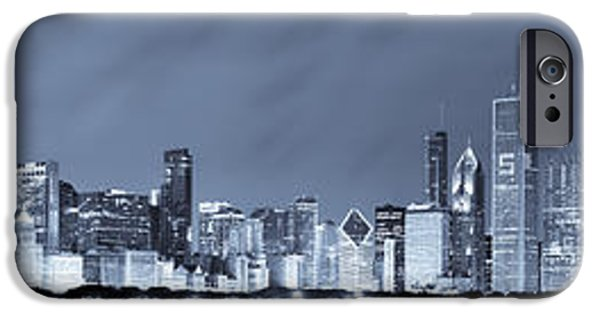 Willis Tower iPhone Cases - Blue Chicago Skyline iPhone Case by Sebastian Musial