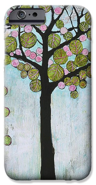 Little Mixed Media iPhone Cases - Blue Chickadee Tree iPhone Case by Blenda Studio