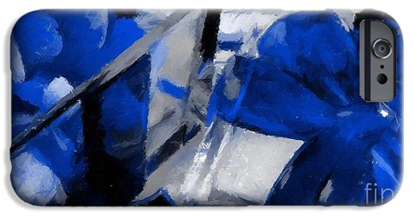 Abstractions iPhone Cases - Blue Christmas Abstraction iPhone Case by Barbara Griffin