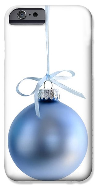 Festivities iPhone Cases - Blue Christmas bauble iPhone Case by Elena Elisseeva