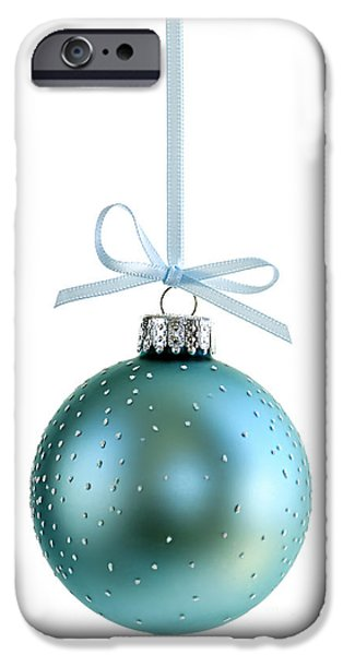 Festivities iPhone Cases - Blue Christmas ornament iPhone Case by Elena Elisseeva