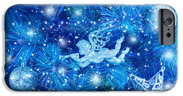 Night Angel iPhone Cases - Blue Christmas tree background iPhone Case by Anna Omelchenko