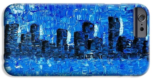 Chicago Paintings iPhone Cases - Blue City - Abstract Cityscape Art Painting iPhone Case by Sharon Cummings