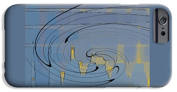 Abstractions iPhone Cases - Blue Cityscape iPhone Case by Ben and Raisa Gertsberg