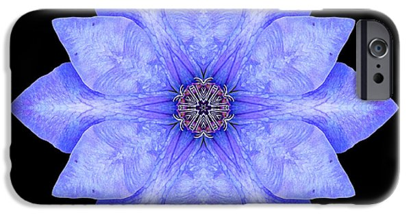 David J Bookbinder iPhone Cases - Blue Clematis Flower Mandala iPhone Case by David J Bookbinder