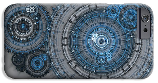 Mechanism iPhone Cases - Blue clockwork machine iPhone Case by Martin Capek