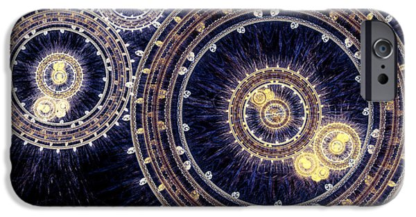 Fractals Fractal Digital Art iPhone Cases - Blue clockwork iPhone Case by Martin Capek