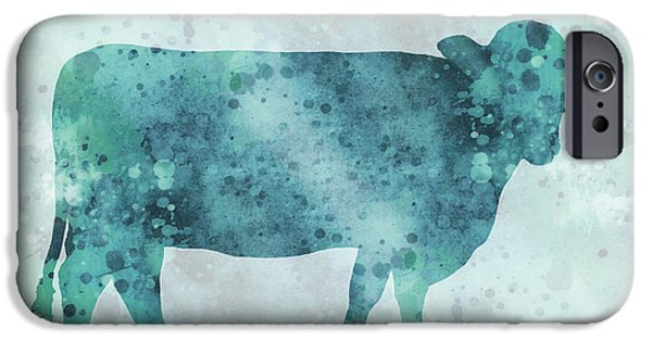 Recently Sold -  - Abstract Digital Mixed Media iPhone Cases - Blue Color Splash Cow iPhone Case by Ann Powell
