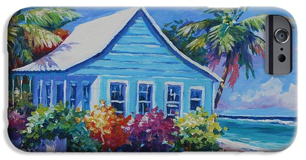 Pastel Paintings iPhone Cases - Blue Cottage on the Beach iPhone Case by John Clark