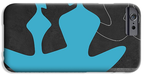 Love Making Paintings iPhone Cases - Blue Couple 2 iPhone Case by Naxart Studio