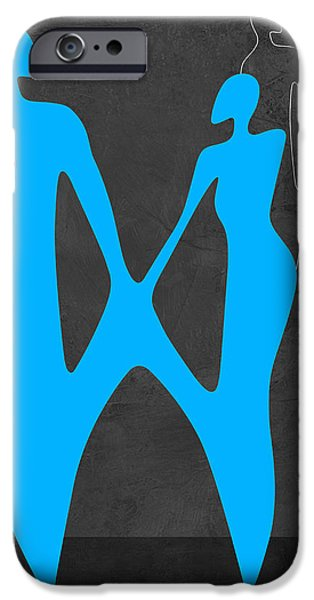 Love Making Paintings iPhone Cases - Blue Couple iPhone Case by Naxart Studio