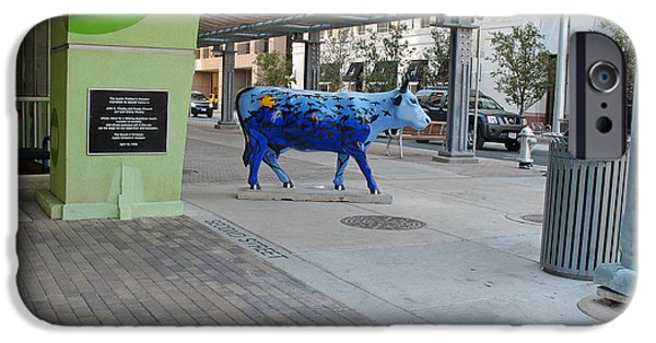 Sign iPhone Cases - Blue Cow in Colorful Austin 2008 iPhone Case by Connie Fox