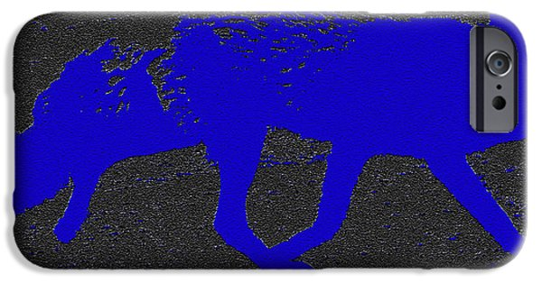 Coyote Art iPhone Cases - Blue Coyote iPhone Case by David Lee Thompson