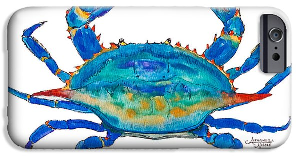 Crab iPhone Cases - Blue Crab iPhone Case by Alexandra Nicole Newton