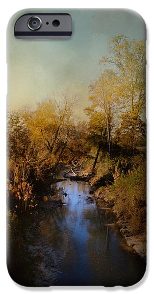 Fall Scenes iPhone Cases - Blue Creek In Autumn iPhone Case by Jai Johnson