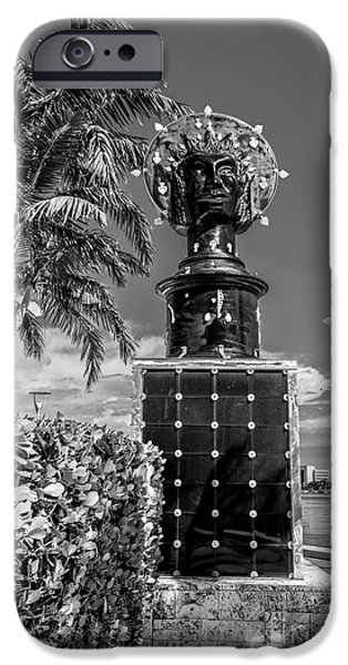 Statue Portrait Photographs iPhone Cases - Blue Crown statue Miami downtown - Black and White iPhone Case by Ian Monk