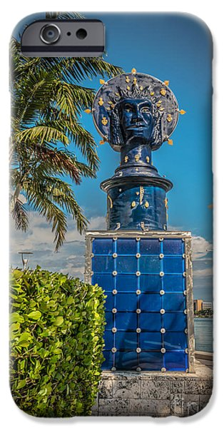 Statue Portrait iPhone Cases - Blue Crown statue Miami downtown iPhone Case by Ian Monk